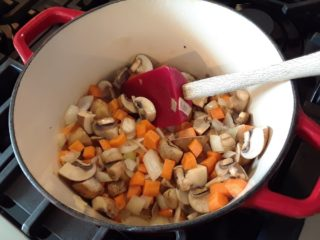 Onion, mushroom and carrots in a pot.