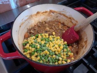 The addition of peas and corn.