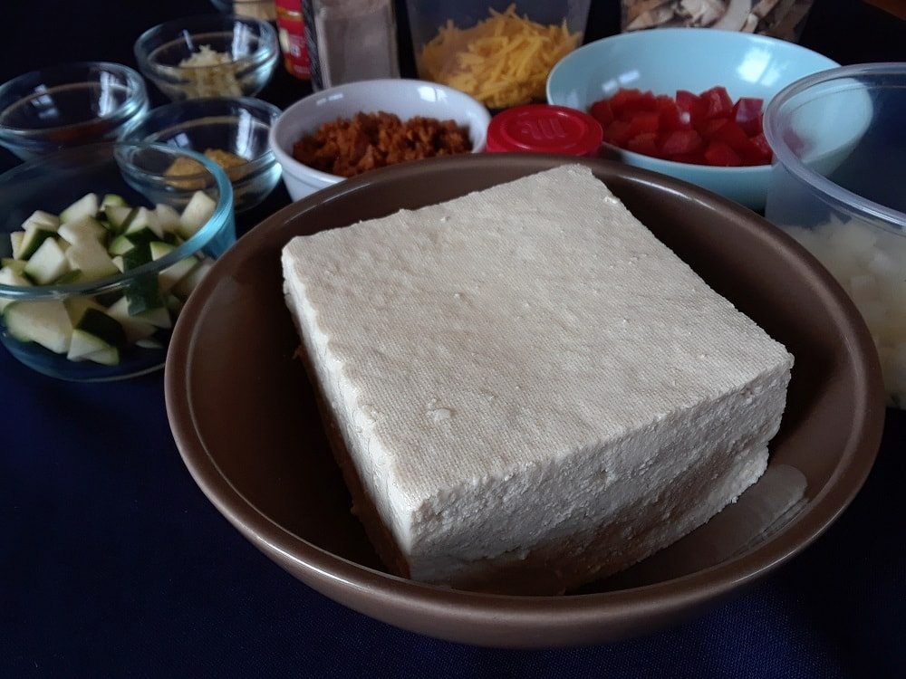 A close look at the tofu to be used.