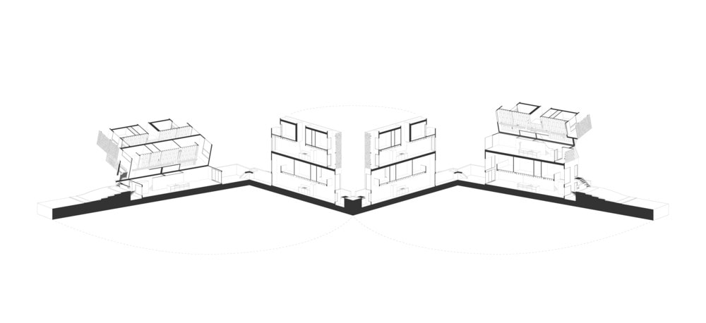 This is an Axonometric view of the house showcasing the sections of the house.