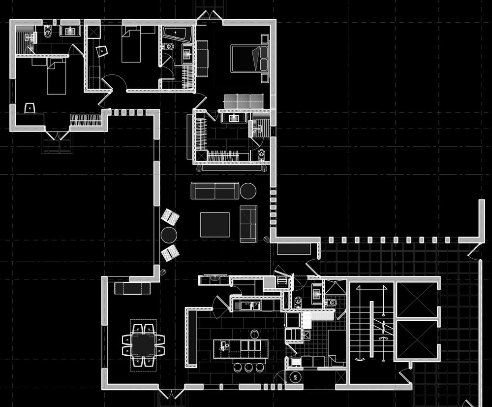 This is the floor plan for the entire apartment showing the various sections of the house.