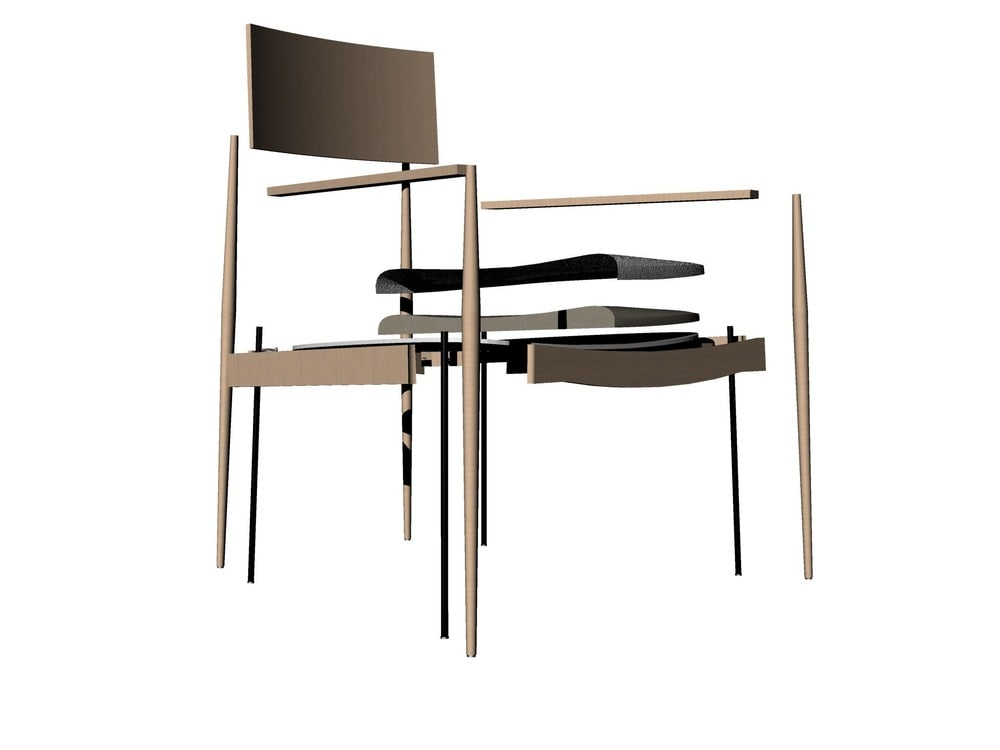 This is an illustrative representation of one of the dining chairs and its parts.