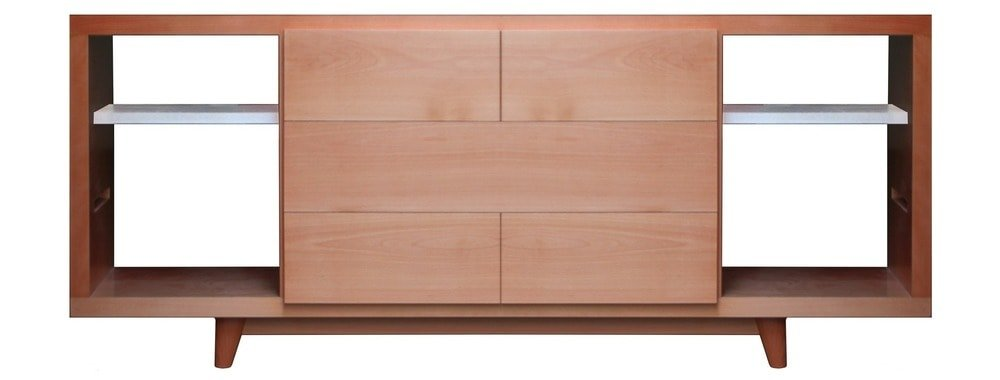 This is an illustrative representation of the console table at the living room with a built-in cabinet and shelves.