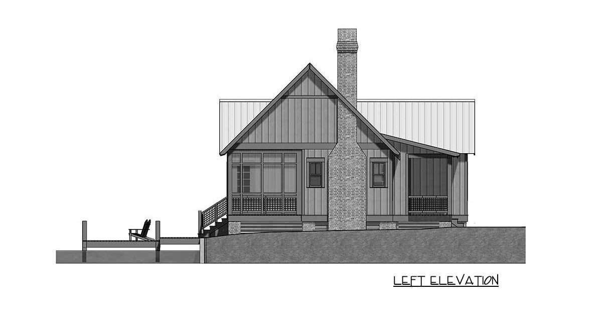 Left elevation sketch of the 2-bedroom single-story cottage.