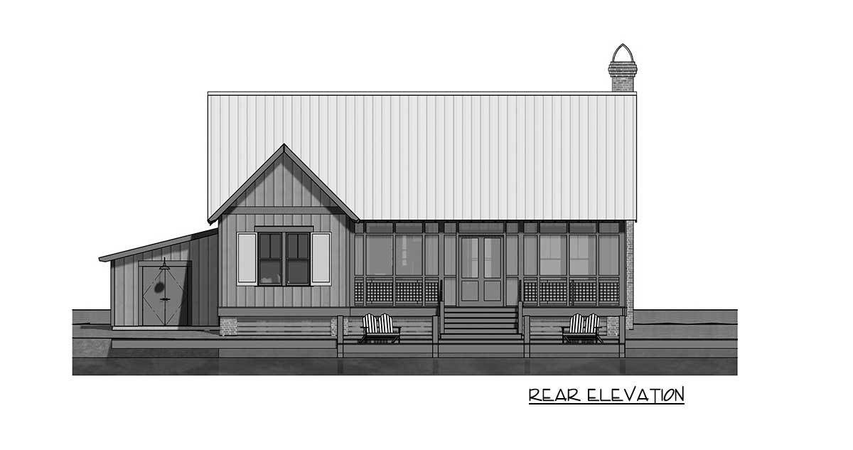 Rear elevation sketch of the 2-bedroom single-story cottage.