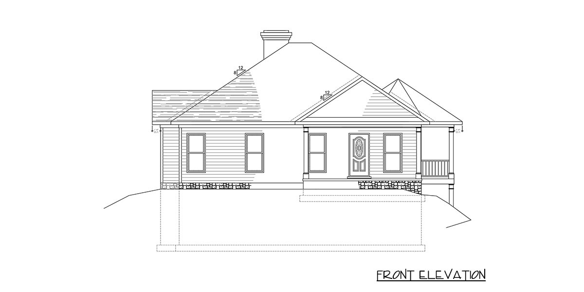 Front elevation sketch of the 2-bedroom single-story exclusive bungalow home.