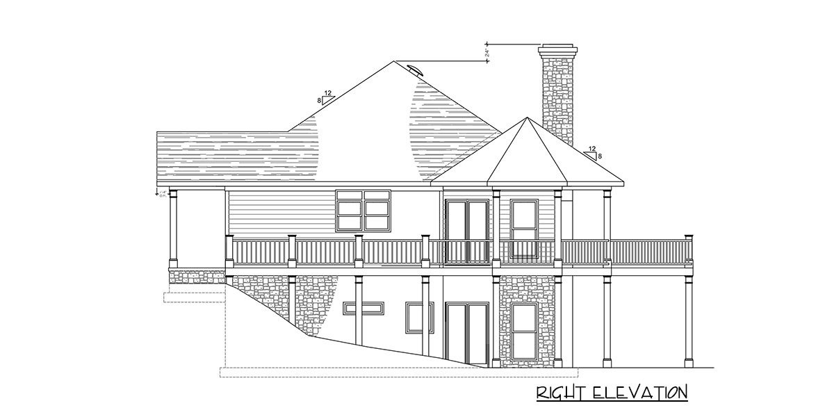 Right elevation sketch of the 2-bedroom single-story exclusive bungalow home.