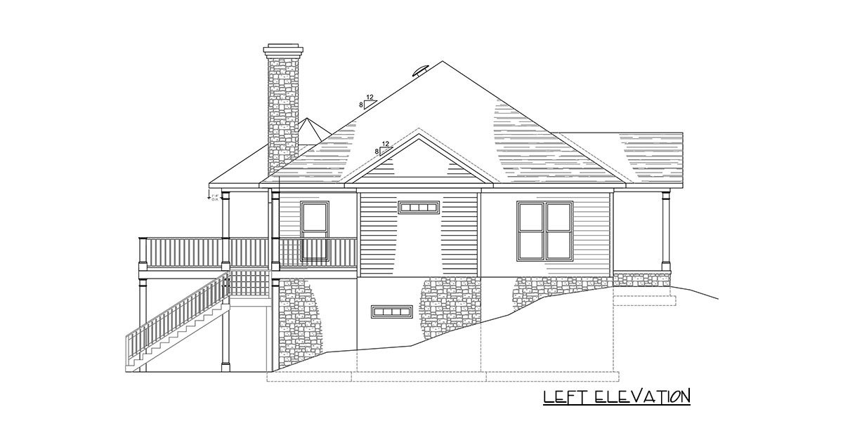 Left elevation sketch of the 2-bedroom single-story exclusive bungalow home.