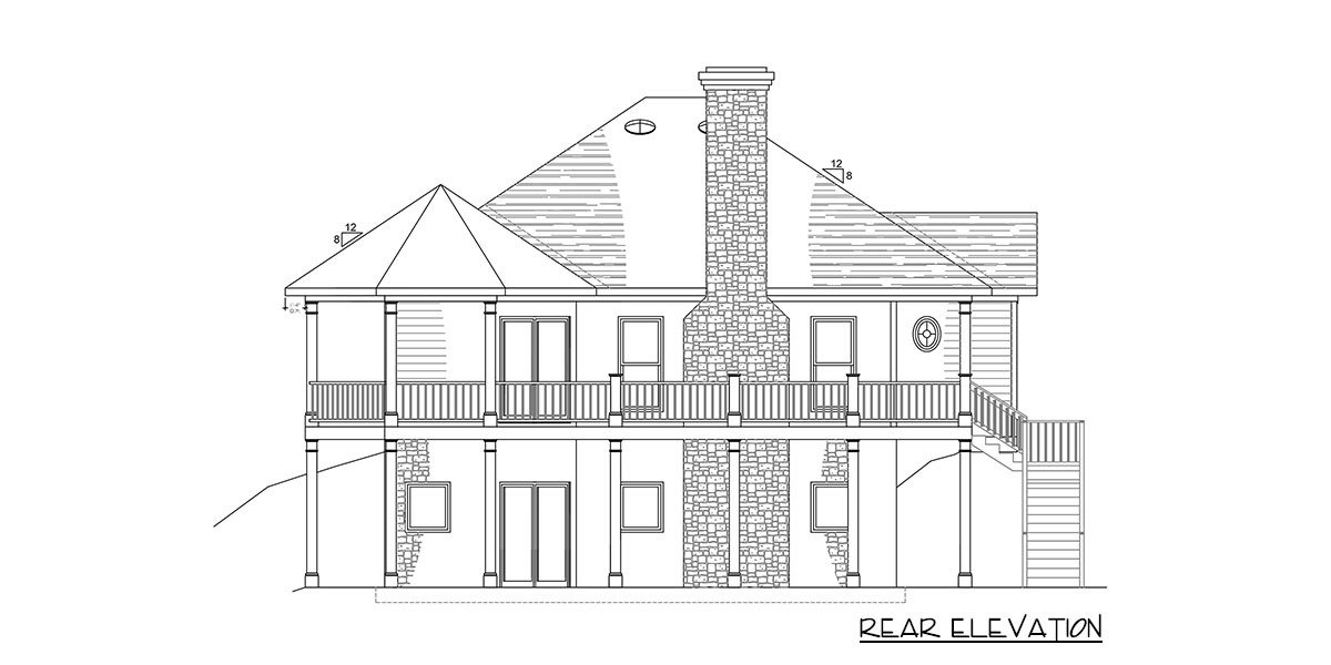 Rear elevation sketch of the 2-bedroom single-story exclusive bungalow home.Rear elevation sketch of the 2-bedroom single-story exclusive bungalow home.