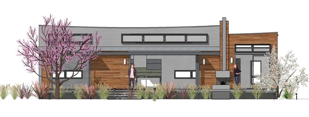 Front elevation sketch of the 2-bedroom single-story Hummingbird-H2 modern style home.