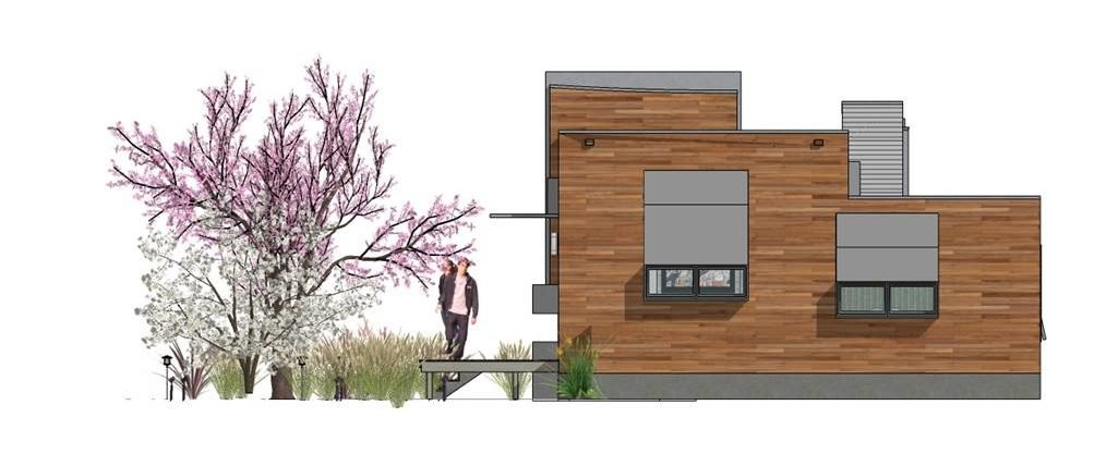 Right elevation sketch of the 2-bedroom single-story Hummingbird-H2 modern style home.