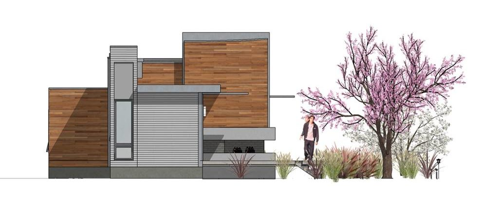 Left elevation sketch of the 2-bedroom single-story Hummingbird-H2 modern style home.
