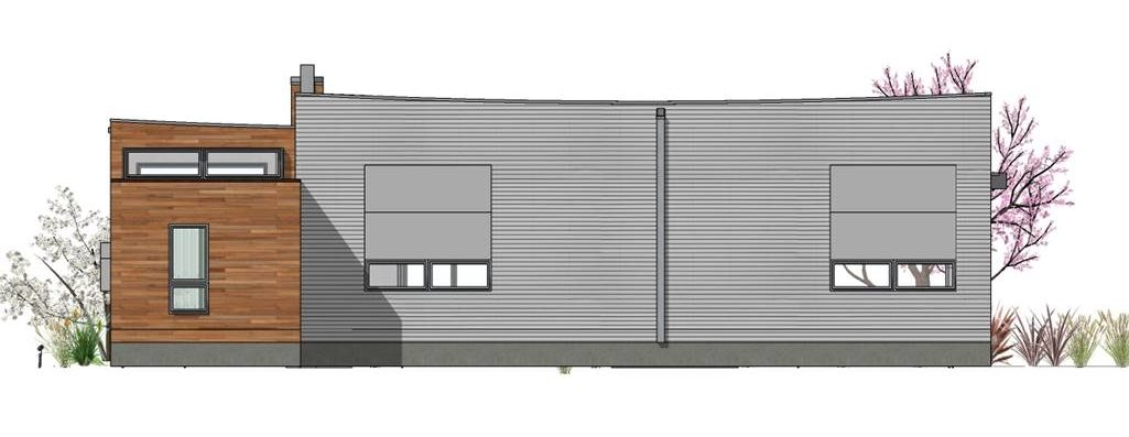 Rear elevation sketch of the 2-bedroom single-story Hummingbird-H2 modern style home.