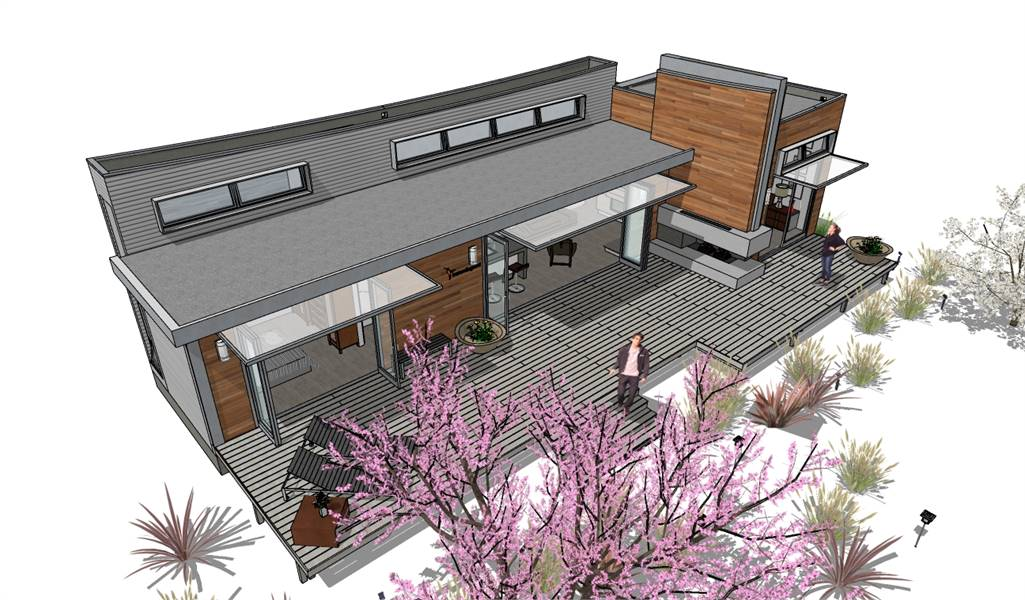 Bird's eye view sketch of the 2-bedroom single-story Hummingbird-H2 modern style home.