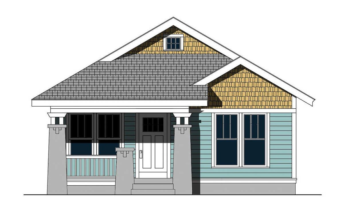 Front elevation sketch of the 3-bedroom single-story cottage home.