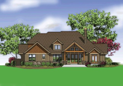 Rear rendering of the 3-bedroom single-story The Barrington home.