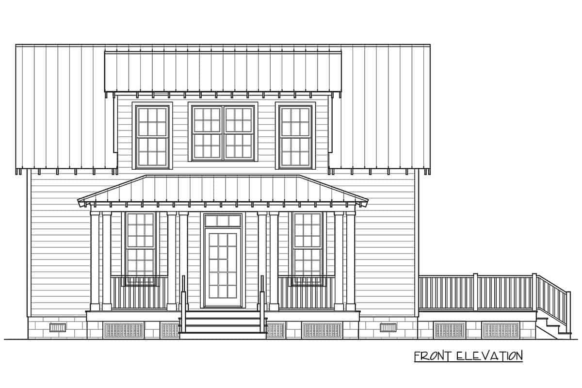 Front elevation sketch of the 3-bedroom two-story cottage home.