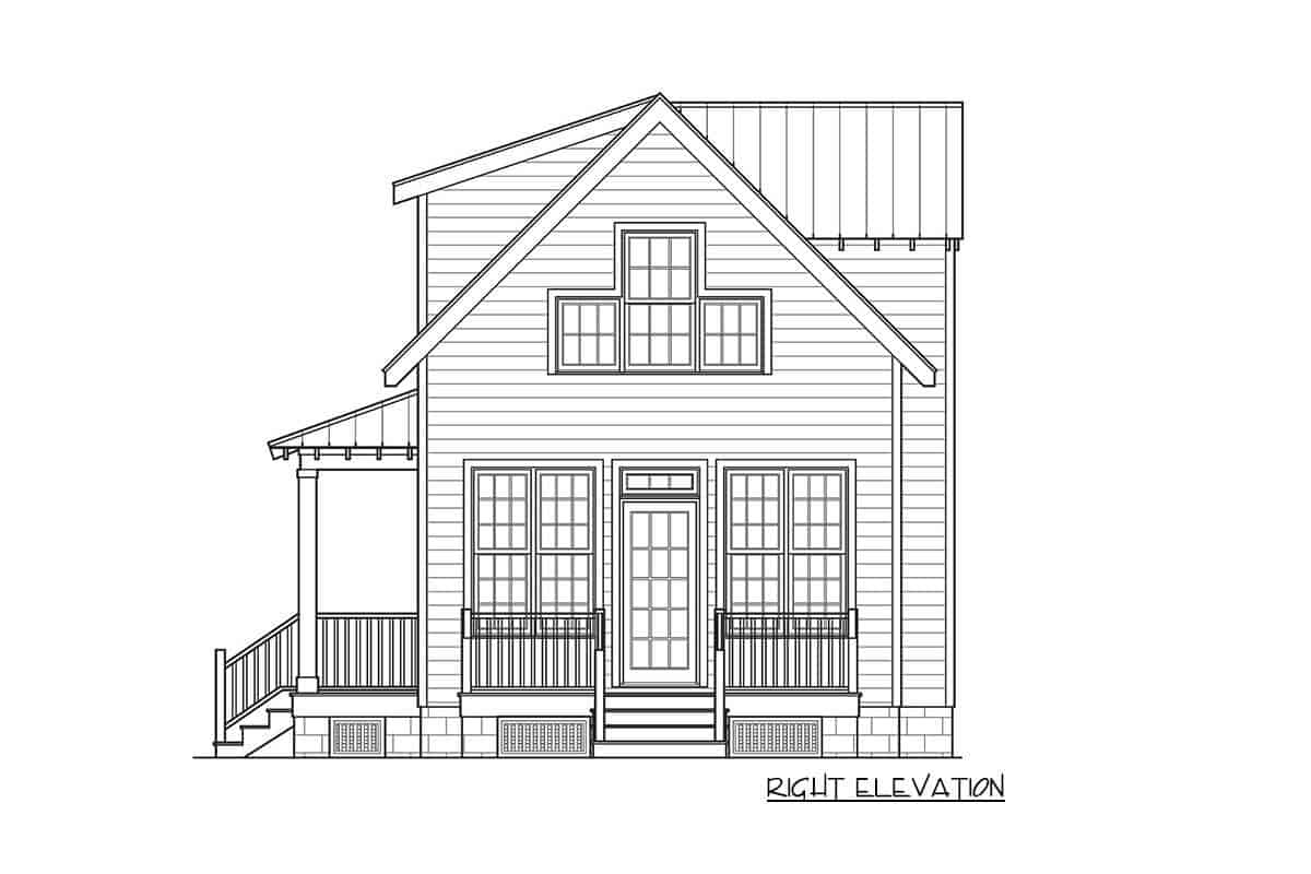 Right elevation sketch of the 3-bedroom two-story cottage home.