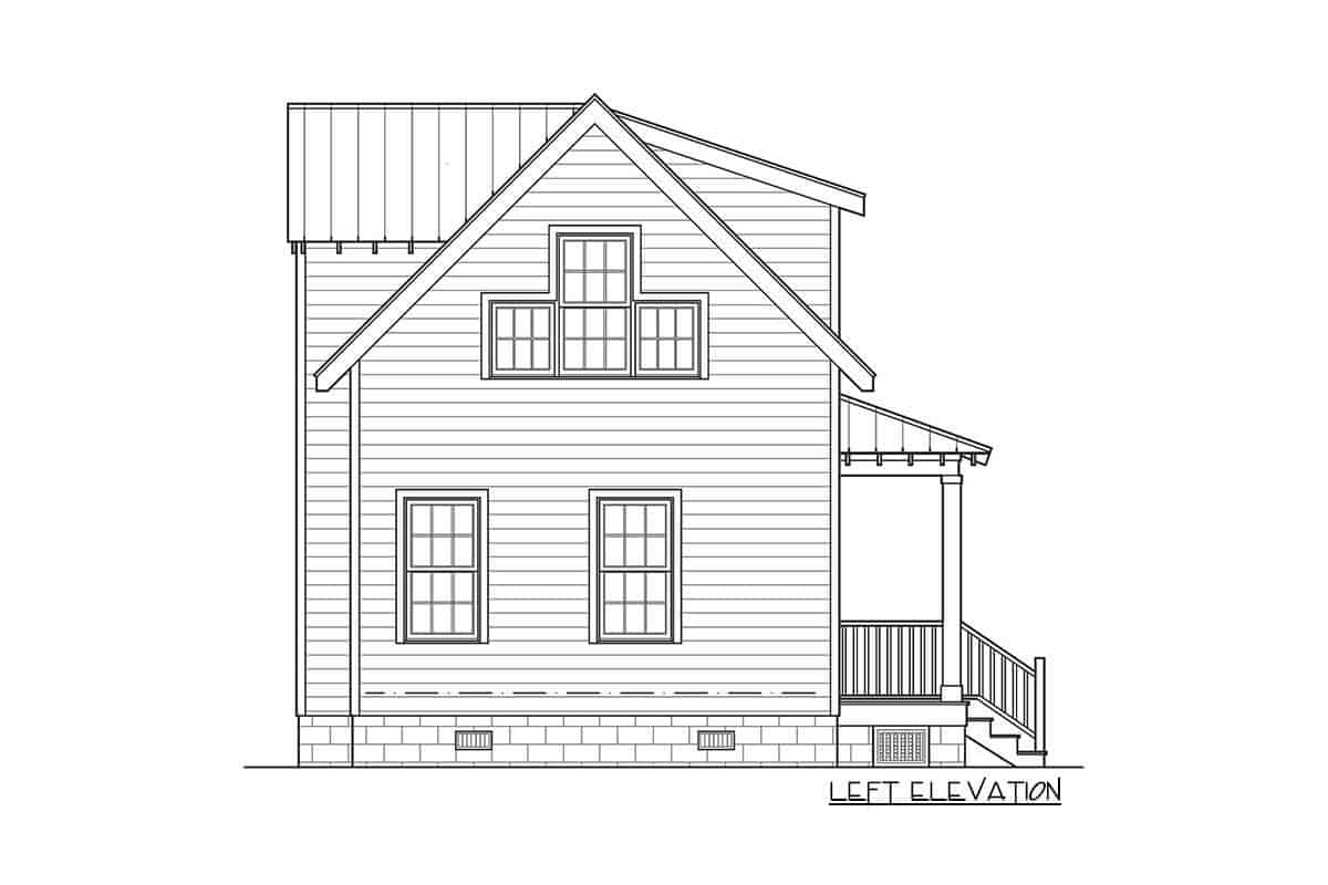 Left elevation sketch of the 3-bedroom two-story cottage home.