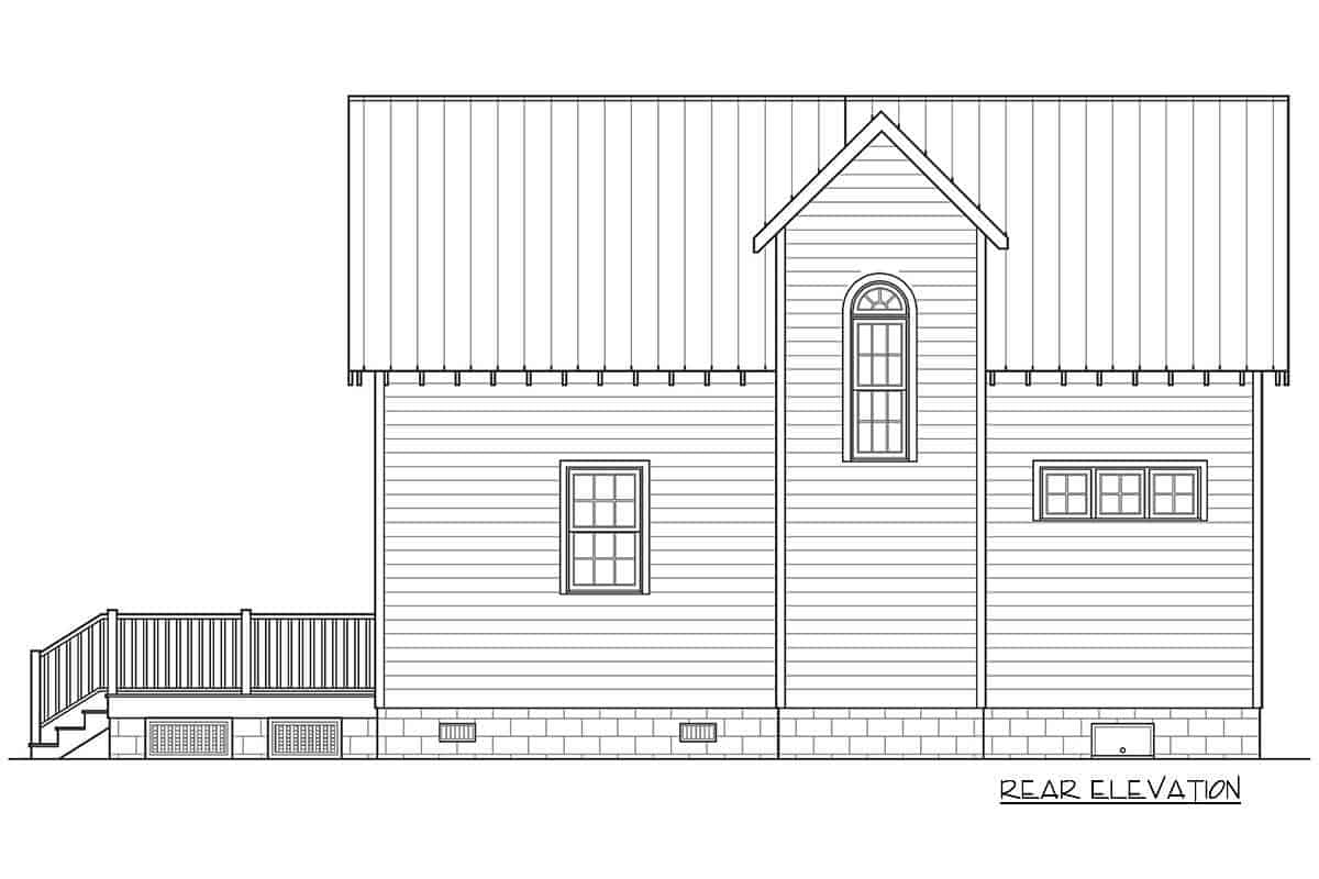 Rear elevation sketch of the 3-bedroom two-story cottage home.
