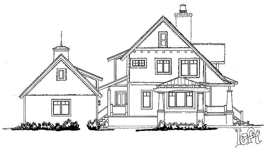 Left elevation sketch of the 3-bedroom two-story country home.