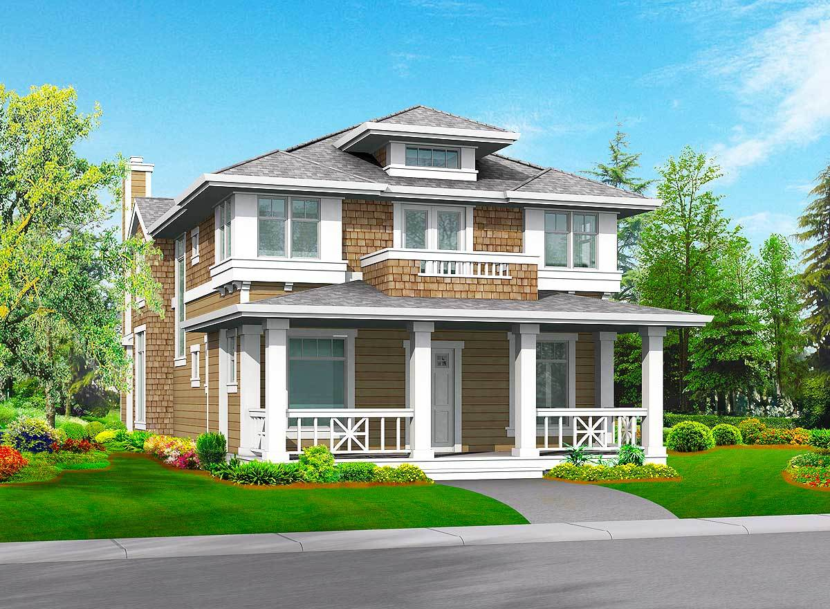 Front rendering of the 3-bedroom two-story craftsman home.