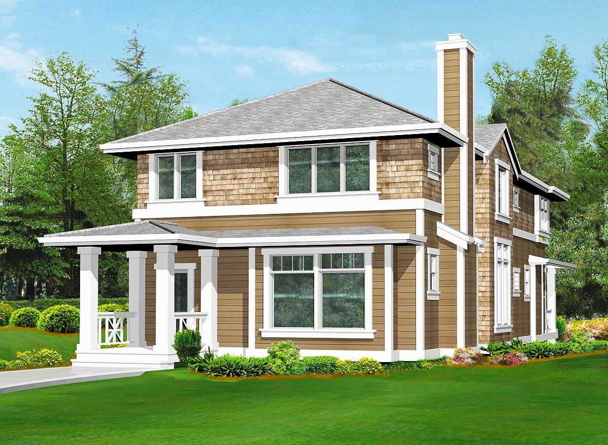 Rear rendering of the 3-bedroom two-story craftsman home.