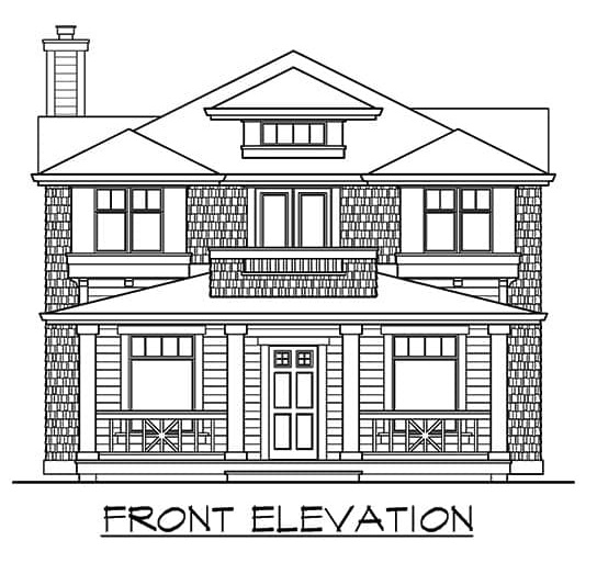 Front elevation sketch of the 3-bedroom two-story craftsman home.