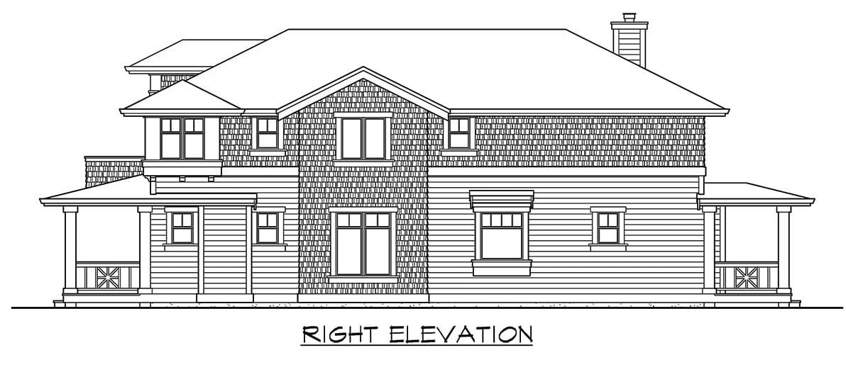 Right elevation sketch of the 3-bedroom two-story craftsman home.