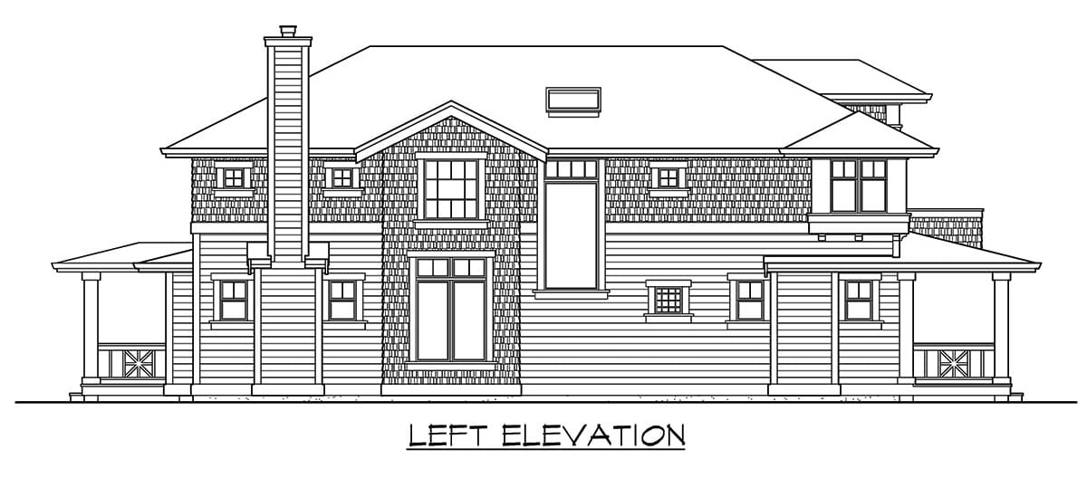Left elevation sketch of the 3-bedroom two-story craftsman home.