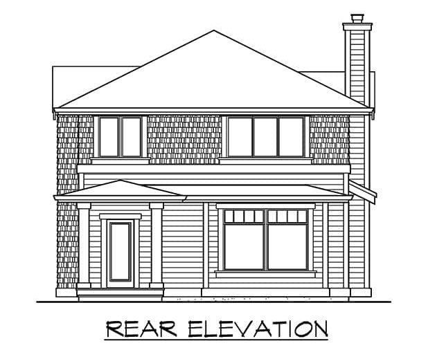 Rear elevation sketch of the 3-bedroom two-story craftsman home.