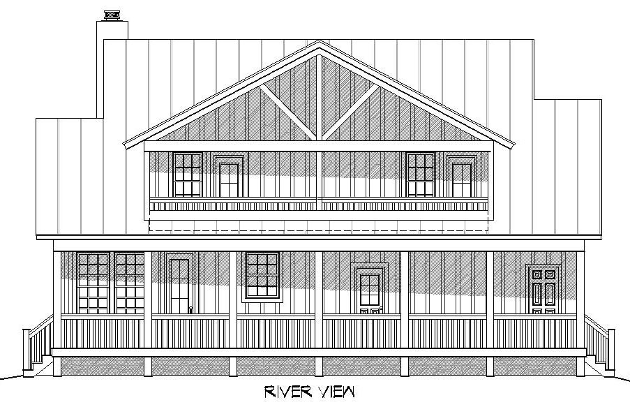 Rear elevation sketch of the 3-bedroom two-story Rivers Edge home.
