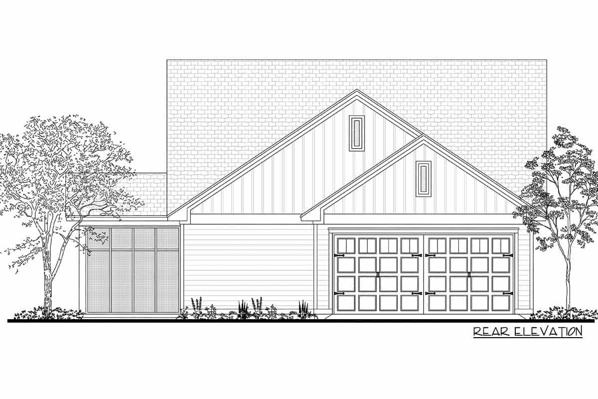 Rear elevation sketch of the 4-bedroom single-story compact craftsman home.