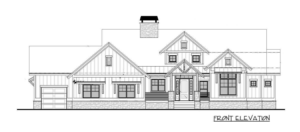 Front elevation sketch of the 4-bedroom single-story mountain craftsman home.