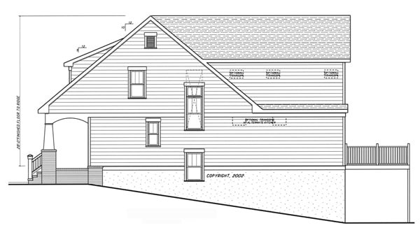 Right elevation sketch of the 4-bedroom two-story Kensington II - A home.