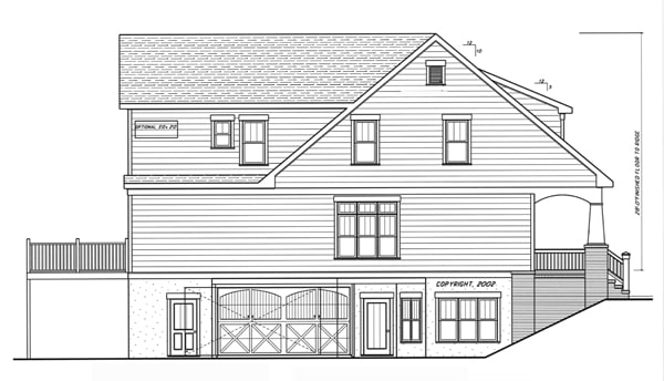 Left elevation sketch of the 4-bedroom two-story Kensington II - A home.