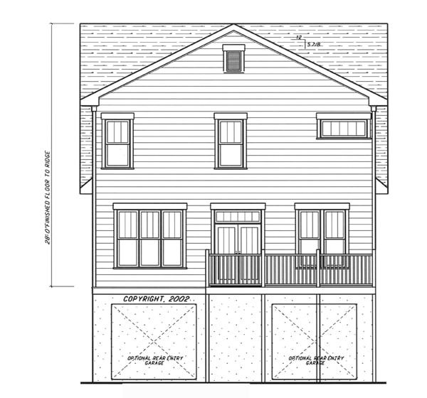 Rear elevation sketch of the 4-bedroom two-story Kensington II - A home.