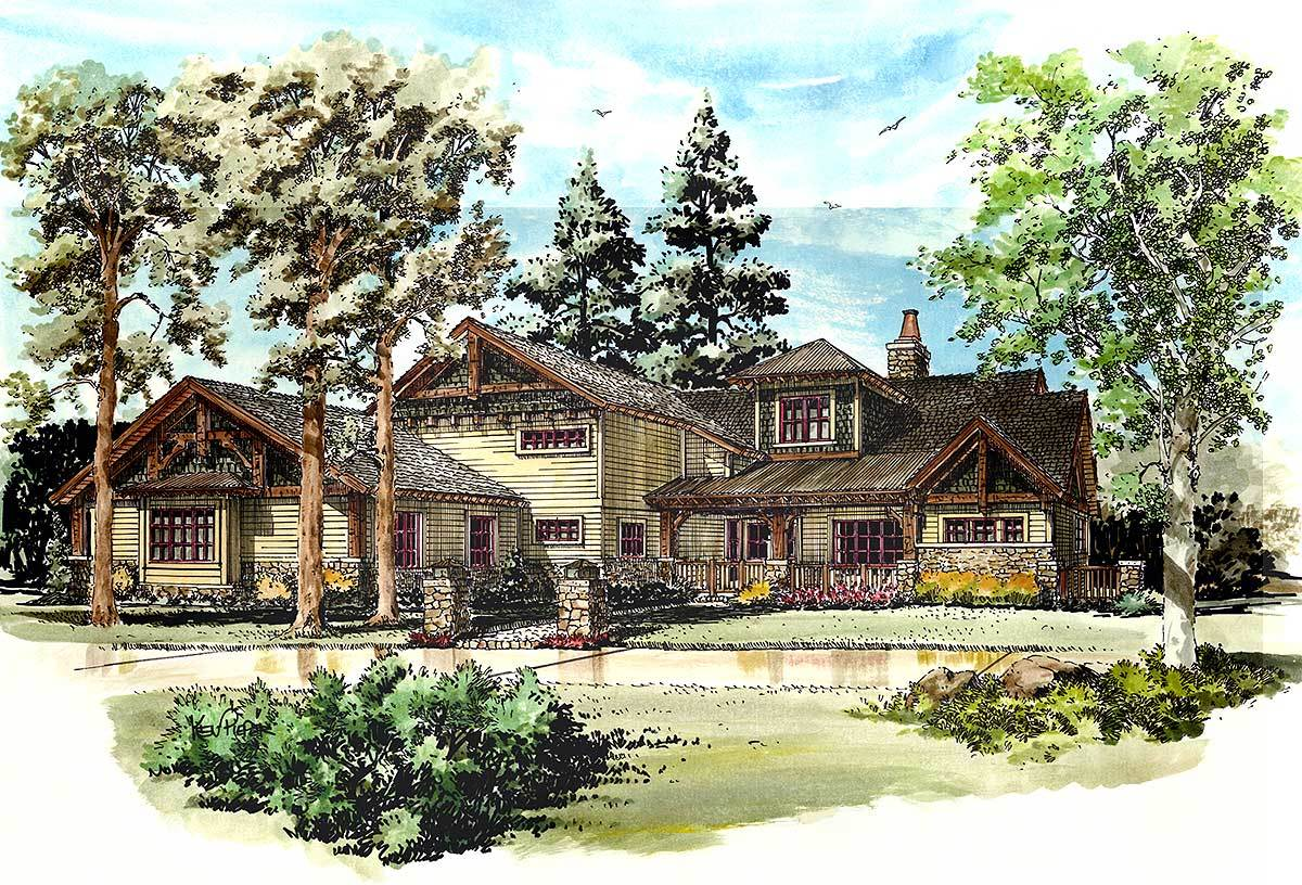 Front perspective sketch of the 4-bedroom two-story mountain style home.