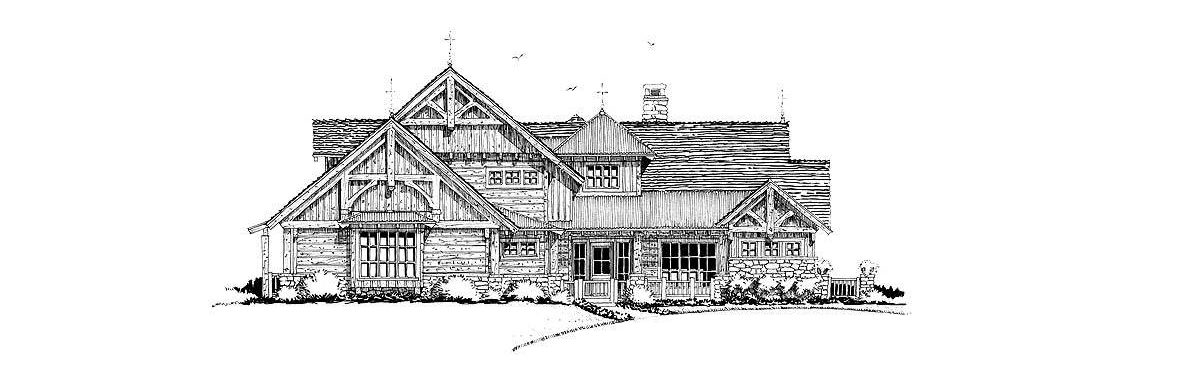 Front elevation sketch of the 4-bedroom two-story mountain style home.