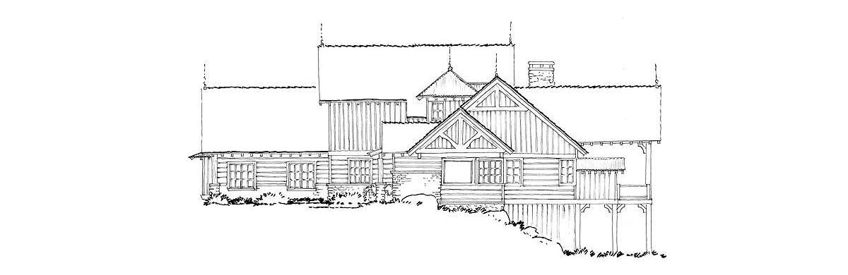 Right elevation sketch of the 4-bedroom two-story mountain style home.