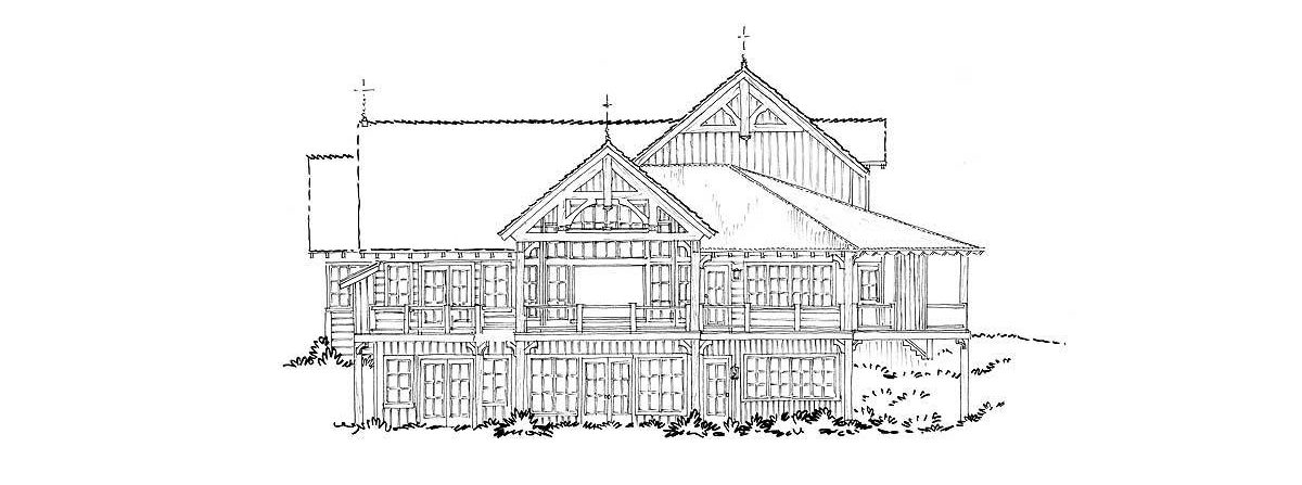 Left elevation sketch of the 4-bedroom two-story mountain style home.