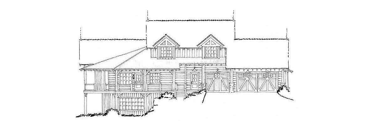Rear elevation sketch of the 4-bedroom two-story mountain style home.