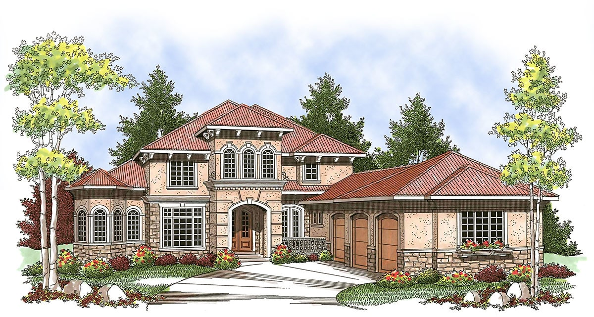 Perspective sketch of the 4-bedroom two-story Tuscan home.