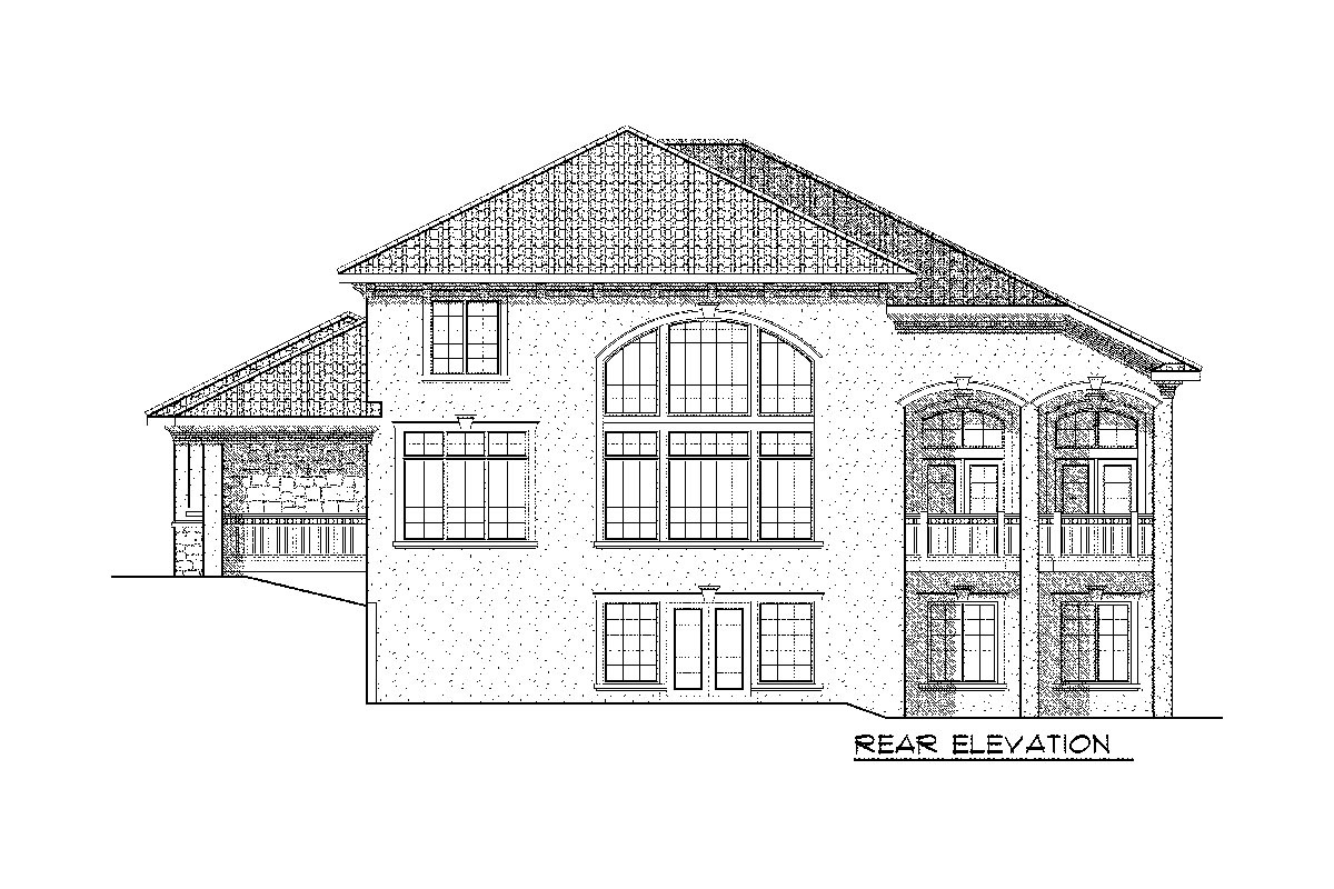 Rear elevation sketch of the 4-bedroom two-story Tuscan home.