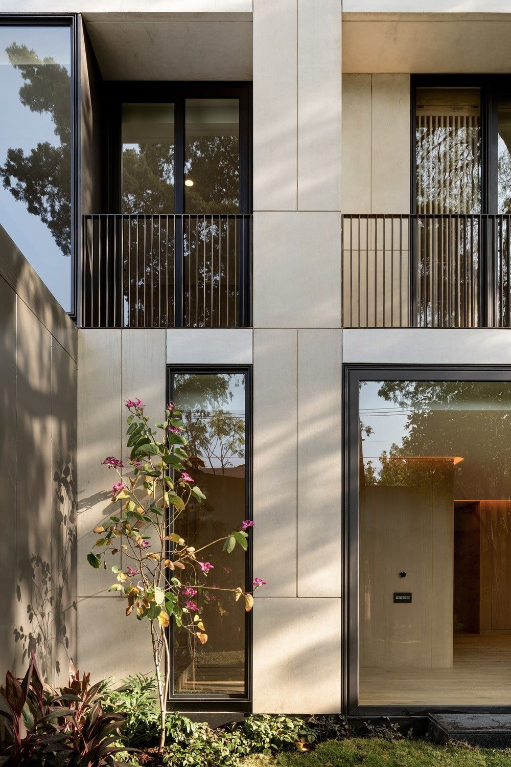 This corner of the backyard showcases a flowering plant that adorns the bright beige exterior walls and glass walls.
