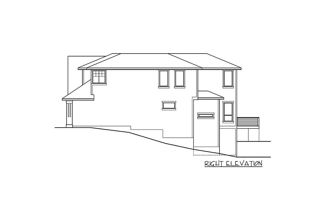 Right elevation sketch of the two-story new American bungalow.