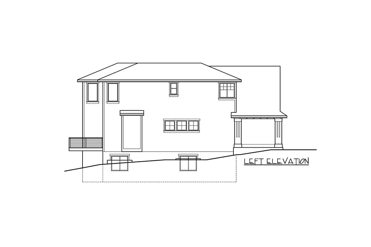 Left elevation sketch of the two-story new American bungalow.