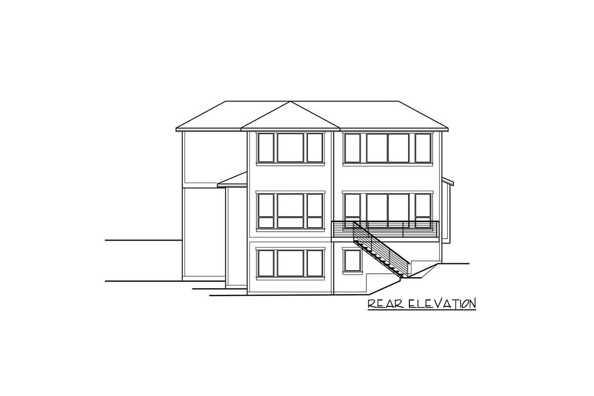 Rear elevation sketch of the two-story new American bungalow.