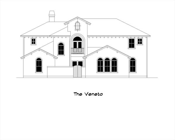 Front elevation sketch of the 5-bedroom two-story The Veneto home.