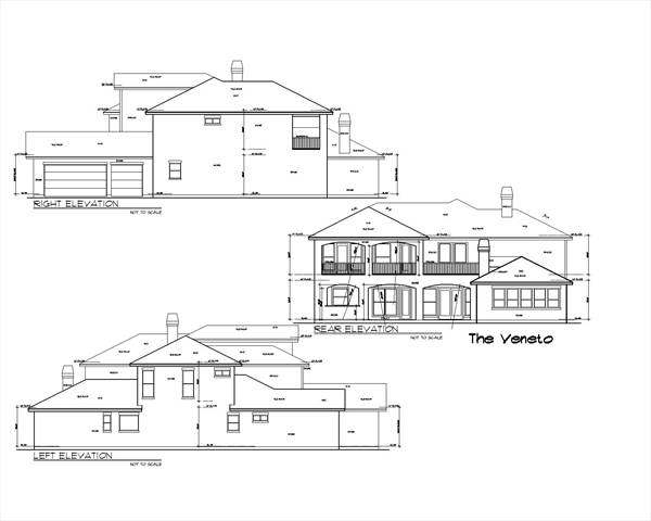 Rear and side elevations of the 5-bedroom two-story The Veneto home.